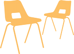 Plastic chairs icon in yellow